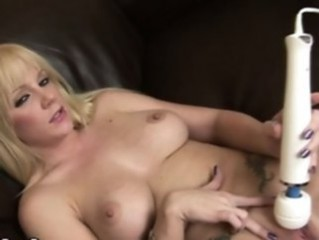Blonde Cute Masturbating  Tattoo Toy