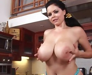 Amazing Big Tits Brunette Cute Kitchen Masturbating  Natural Pornstar Solo