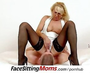 Clothed Facesitting Licking Mature Mom Old and Young Stockings