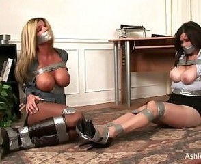 Two MILFS Tape Gagged & Vault Bondage