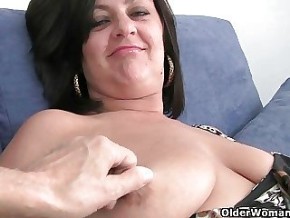 British Brunette European Mature Mom Nipples