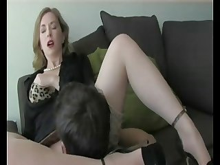 Amazing Clothed Cute Licking  Stockings Teacher