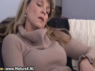 mature older woman enjoys laying