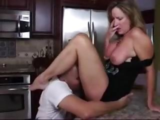 Clothed Kitchen Licking  Mom Old and Young