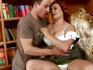lusty grandma making out with a boy
