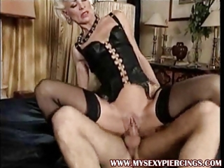 pierced golden-haired milf anal sex