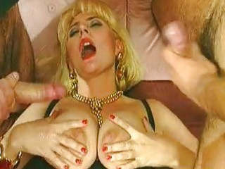 Blonde Cumshot European  Threesome Vintage