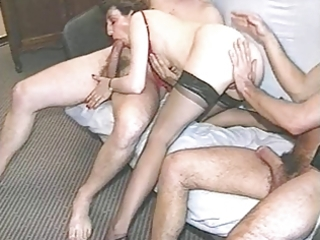 Amateur Blowjob European French Mature Stockings Threesome