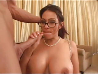 Amazing  Big Tits Glasses Handjob  Mom Old and Young Pornstar
