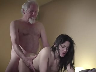Brunette Daddy Daughter Doggystyle Old and Young Strapon Teen Young
