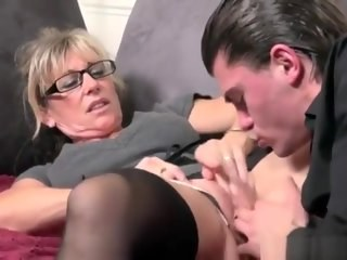 Blonde Fisting Glasses Mature Mom Old and Young Strapon