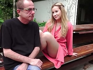 Daddy Babe Blonde Cute Daughter Old And Young Outdoor Teen