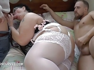 BBW Blowjob Lingerie Mature Mom Old And Young Stockings Threesome