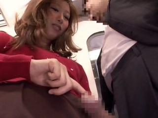Asian Handjob Japanese MILF Public Strapon