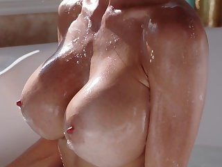 Amazing Bathroom Big Tits MILF Nipples Pornstar Silicone Tits Strapon