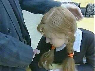 Blowjob Pigtail Redhead Russian School Strapon Student Teen Uniform Young