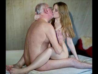 Cute Daddy Daughter Kissing Old and Young Strapon Teen Young