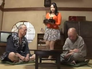 Asian Daddy Daughter Family Old and Young Strapon
