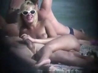 Beach Blonde Handjob MILF Nudist Outdoor Strapon Voyeur Wife