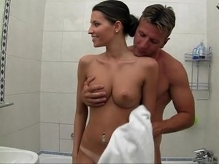 Amazing Bathroom Cute Piercing Strapon Teen Young