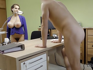 Amazing Big Tits MILF Office Pornstar Secretary Strapon
