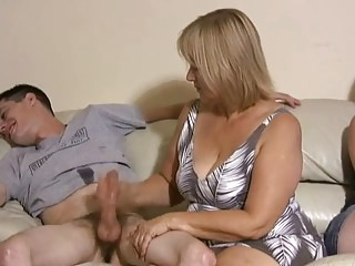 Family Handjob Mature Mom Old and Young Strapon