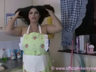 Brunette Kitchen MILF Strapon Wife