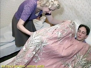 Blonde Mature Mom Old and Young Sleeping Strapon