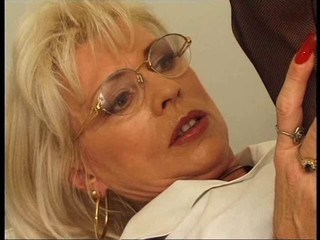 Blonde Glasses Mature Mom Office Strapon Vintage