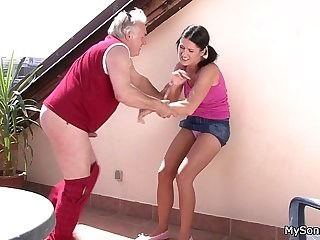 Daddy Daughter Forced Old and Young Pigtail Strapon Teen Young