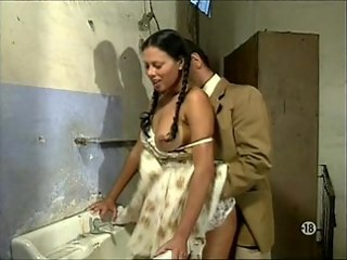 Bathroom Brunette Doggystyle Pigtail Strapon Teen Vintage Young