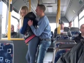 Blonde Bus Public Strapon Teen Young