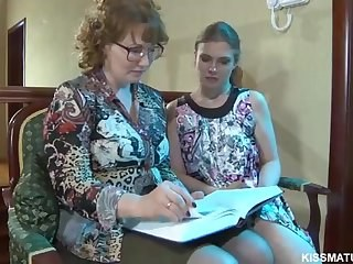 Glasses Lesbian Mature Old and Young Strapon Teacher