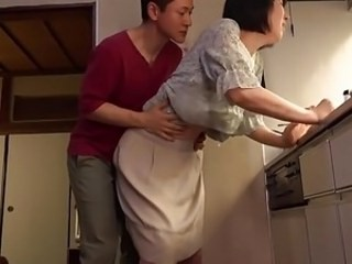 Asian Doggystyle Kitchen Mature Mom Old and Young Strapon