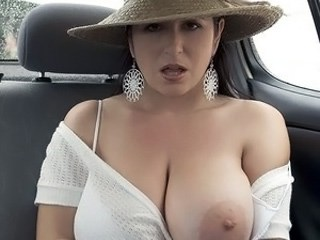 Amazing Big Tits Car MILF Natural Pornstar Strapon Wife