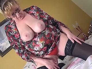 Big Tits Blonde Glasses Mature Mom Natural Panty Stockings Strapon