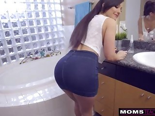 Amazing Ass Bathroom Long hair MILF Pornstar Skirt Strapon