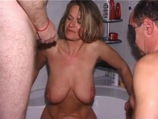 Amateur Bathroom Big Tits Cuckold Cumshot Daddy MILF Natural SaggyTits Strapon Wife