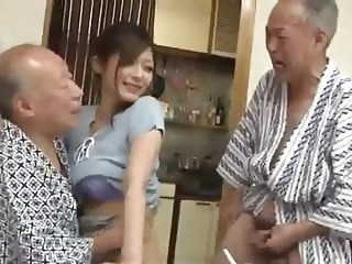 Asian Daddy Daughter Old and Young Strapon Threesome