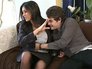 Amazing Brunette Cute MILF Secretary Strapon