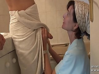 Bathroom Blowjob Mature Mom Old and Young Strapon