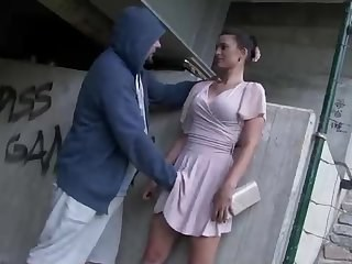 Forced MILF Outdoor Public Strapon