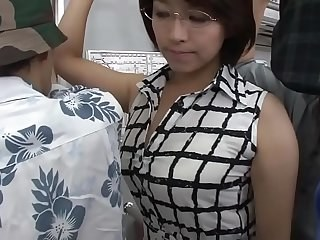 Asian Glasses MILF Public Strapon Wife