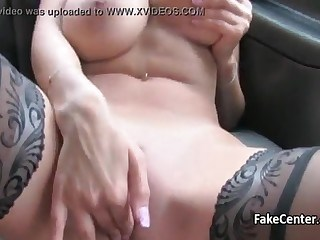 Big Tits Car Masturbating MILF Piercing Stockings Strapon