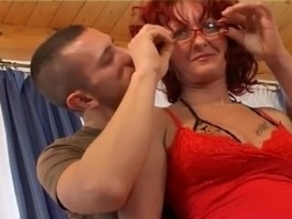 Glasses Mature Mom Old and Young Redhead Strapon