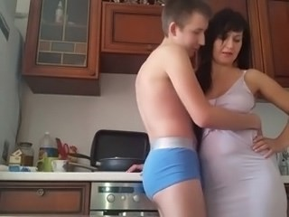 Brunette Kitchen Mature Mom Old and Young Strapon