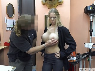 Big Tits Blonde European Glasses MILF Silicone Tits Strapon