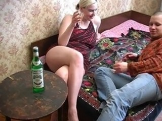 Amateur Blonde Drunk MILF Russian Strapon