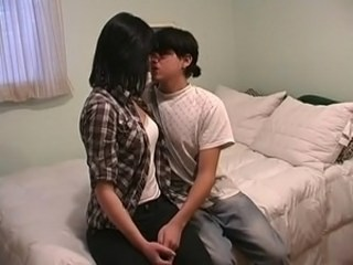 Asian Brunette Girlfriend Kissing Strapon Teen Young