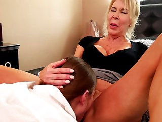 Blonde Clothed Licking Mature Mom Old and Young Strapon
